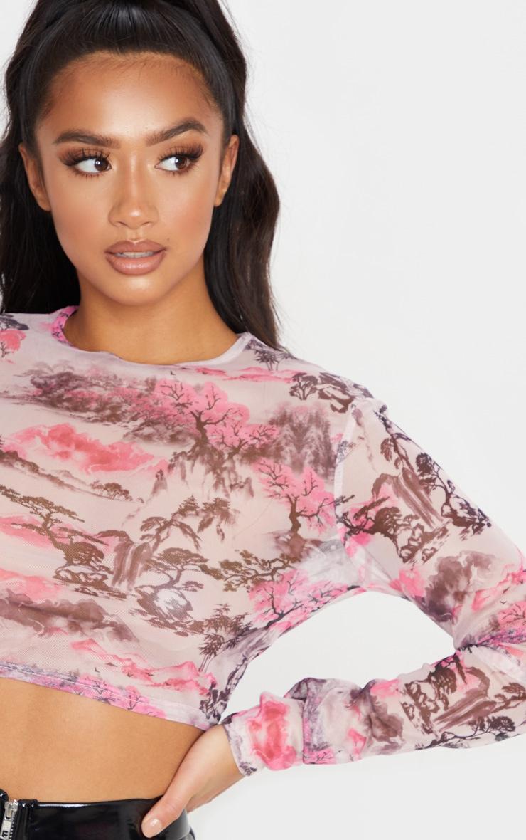 Petite Pink Oriental Mesh  Long Sleeve Crop Top  4
