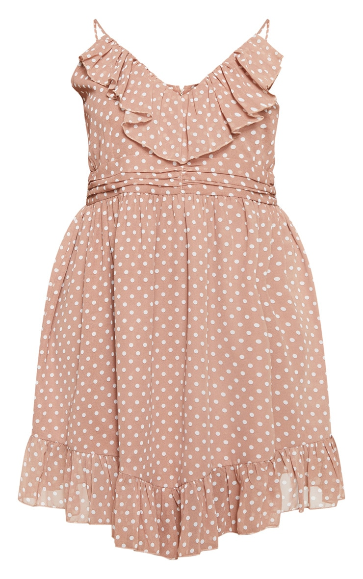 Plus Brown Polka Dot Strappy Frill Detail Skater Dress 3