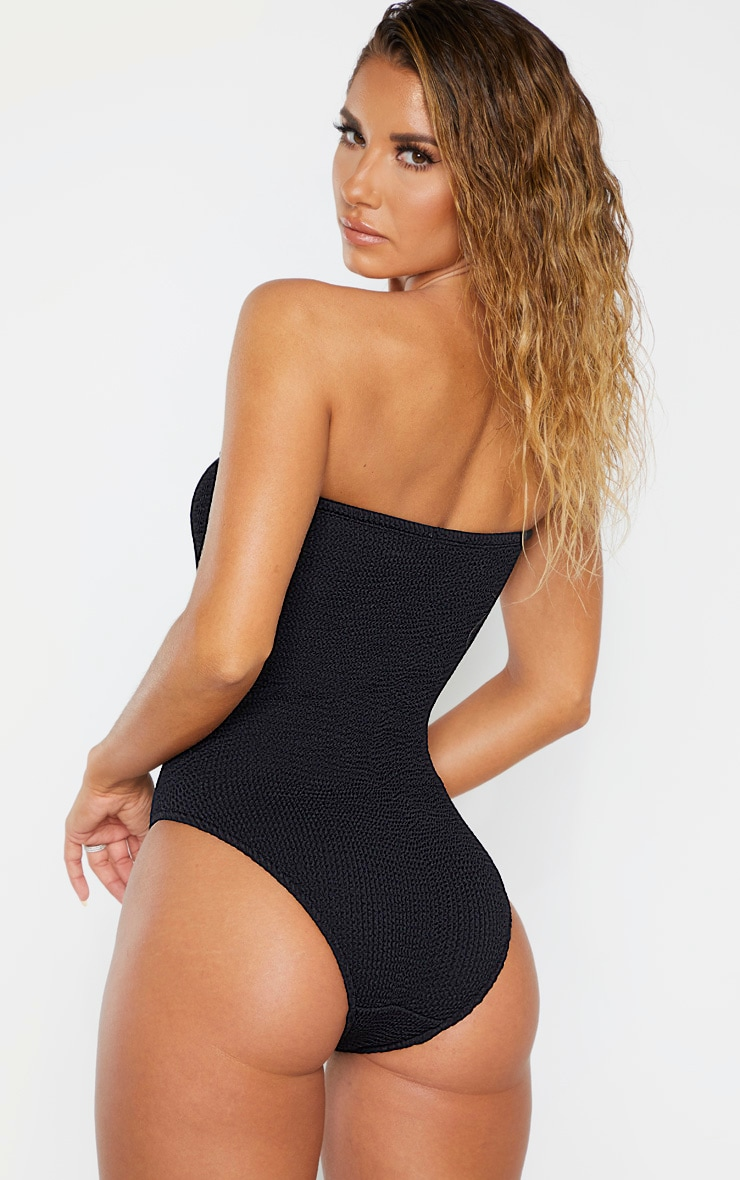 Black Crinkle Strapless Swimsuit 2