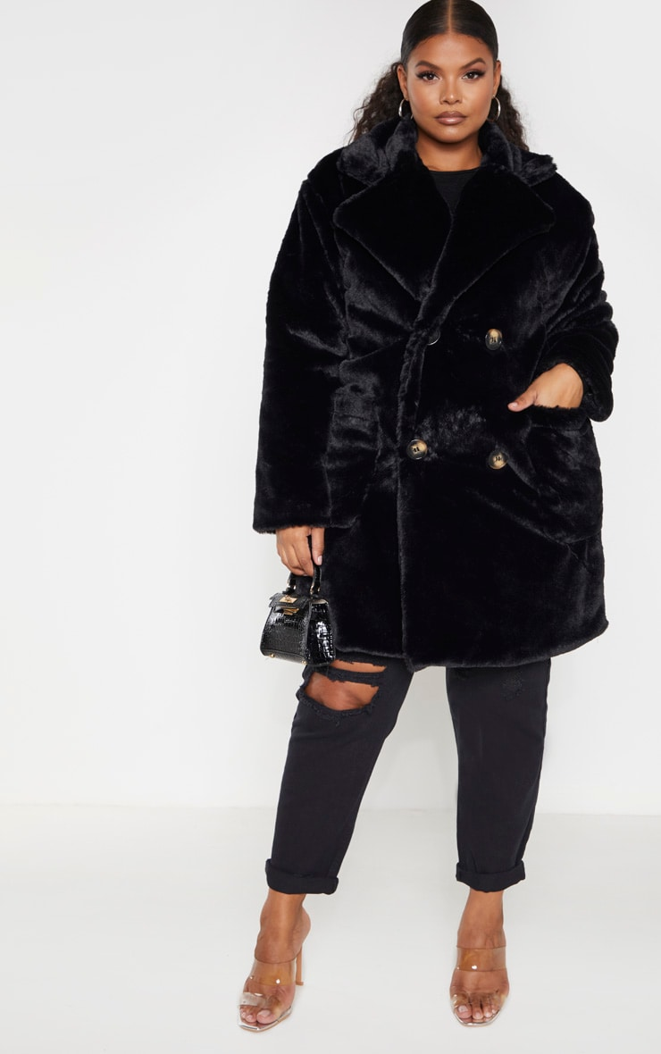 Plus Black Faux Fur Double Breasted Coat 4