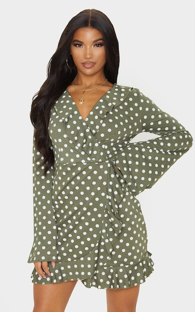 Green Polka Dot Long Sleeve Wrap Tea Dress