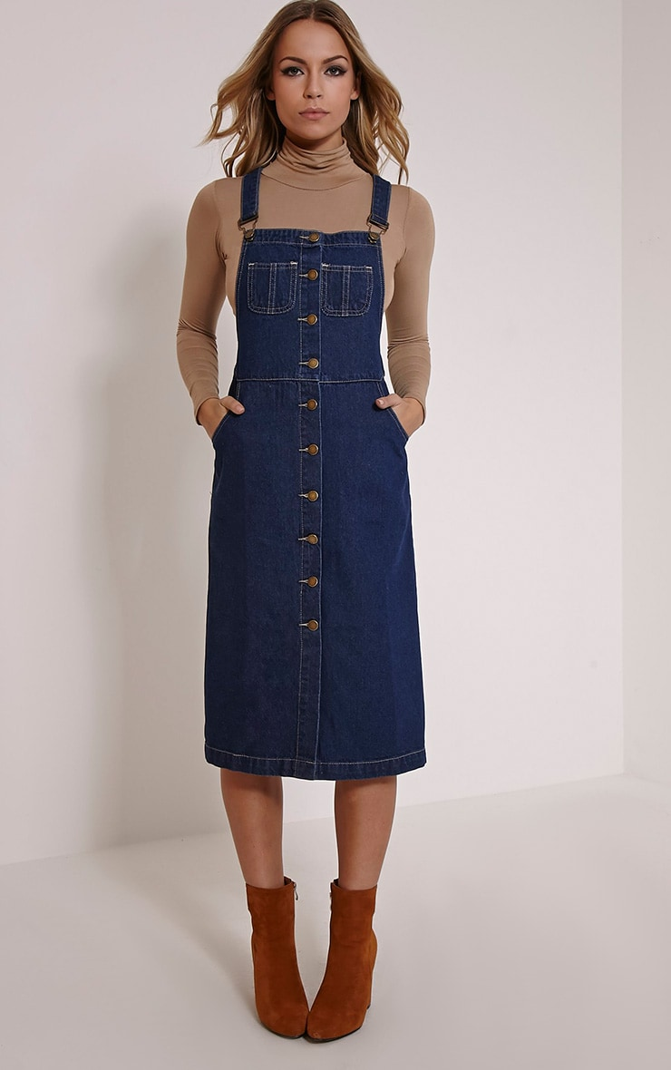 Dolly Indigo Denim Button Front Pinafore Dress 1