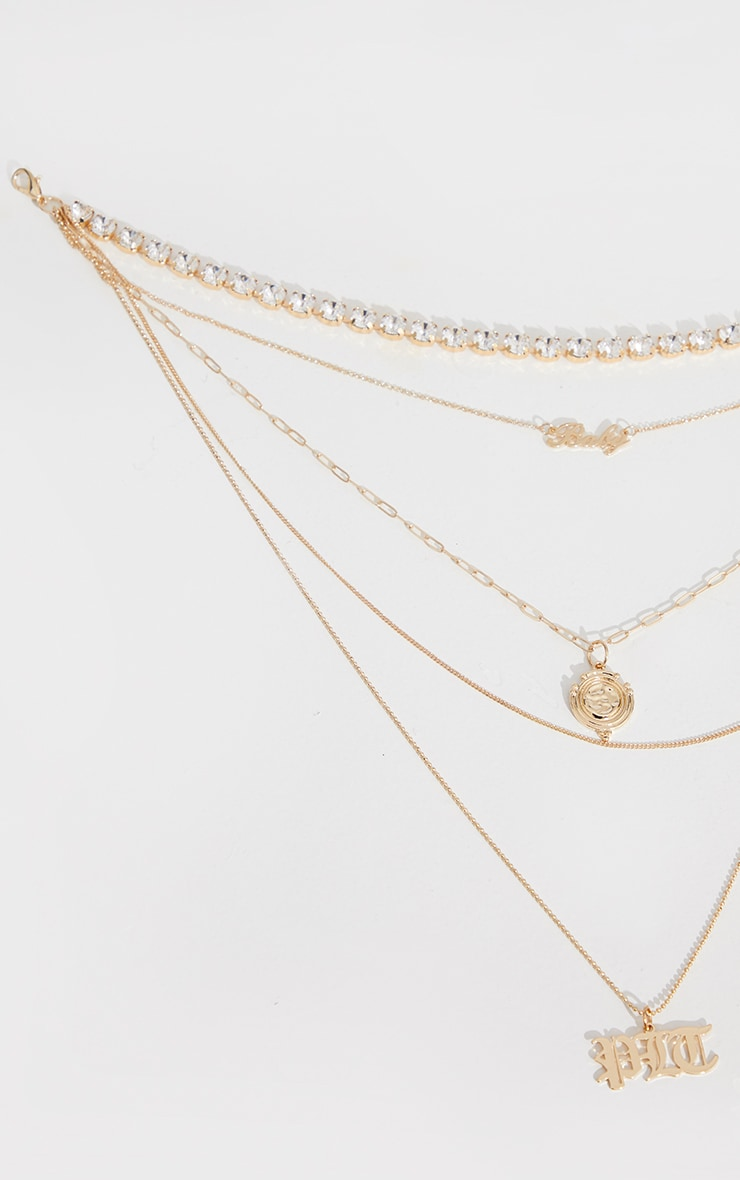 PRETTYLITTLETHING Gold Diamante Pretty Little Thing Layering Necklace 4