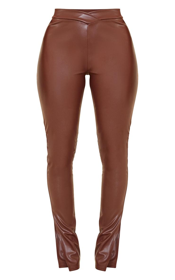 Shape Chocolate PU V Front Ruched Bum Split Hem Pants 5