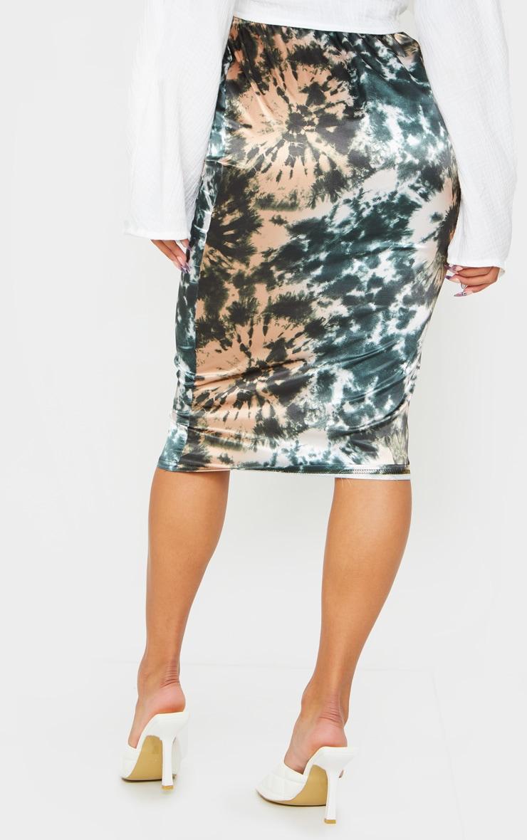 Green Satin Tie Dye Midi Skirt 3