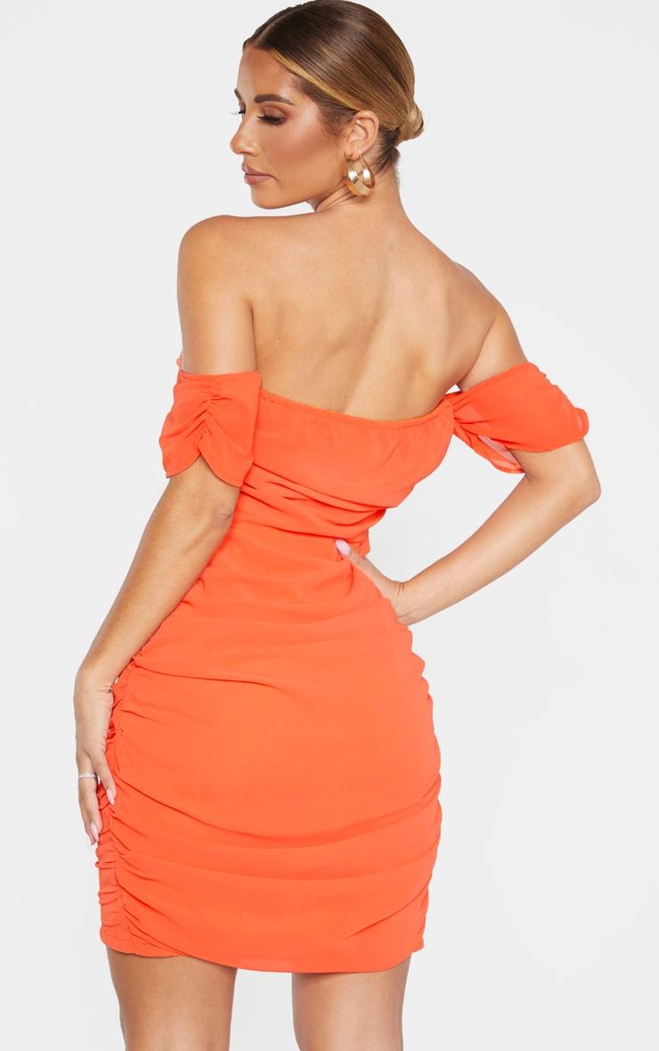 Orange Chiffon Panel Insert Drape Bodycon Dress 2