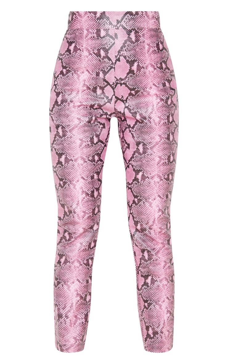 Pantalon skinny en similicuir rose imprimé serpent  3