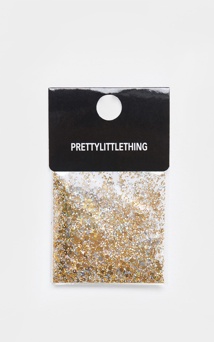 PRETTYLITTLETHING Chunky Gold Glitter 2