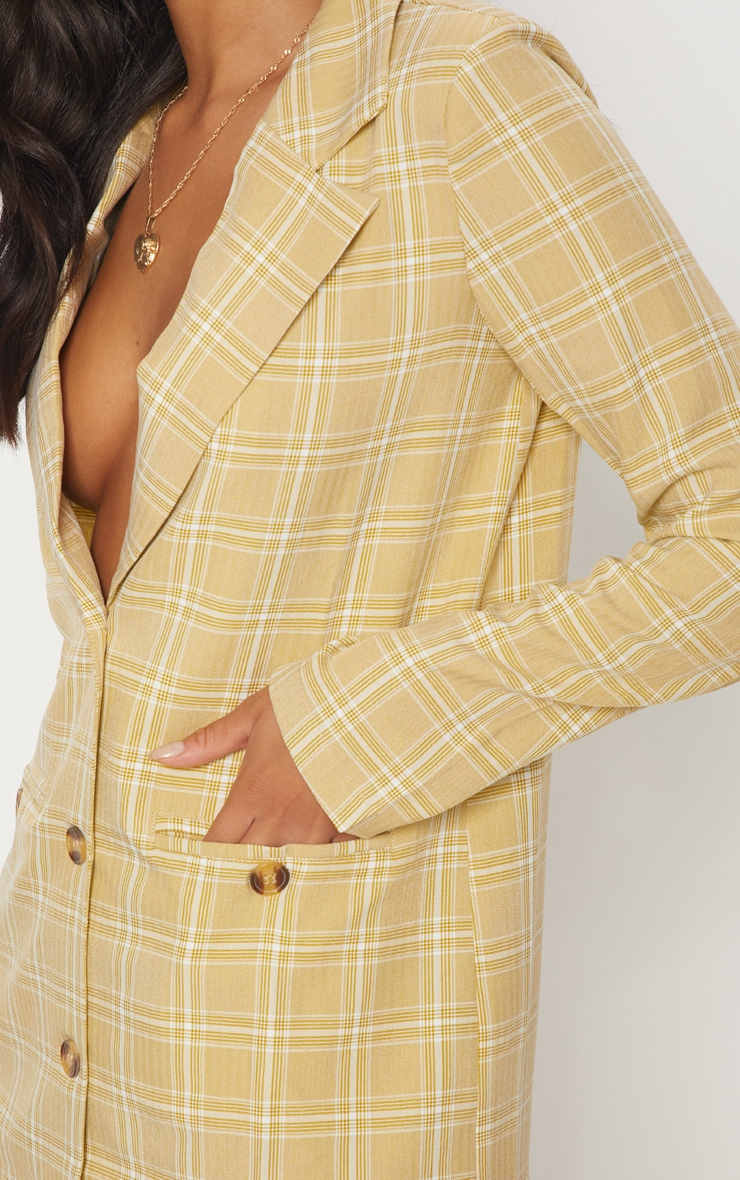Beige Check Print Tortoise Button Blazer Dress 5