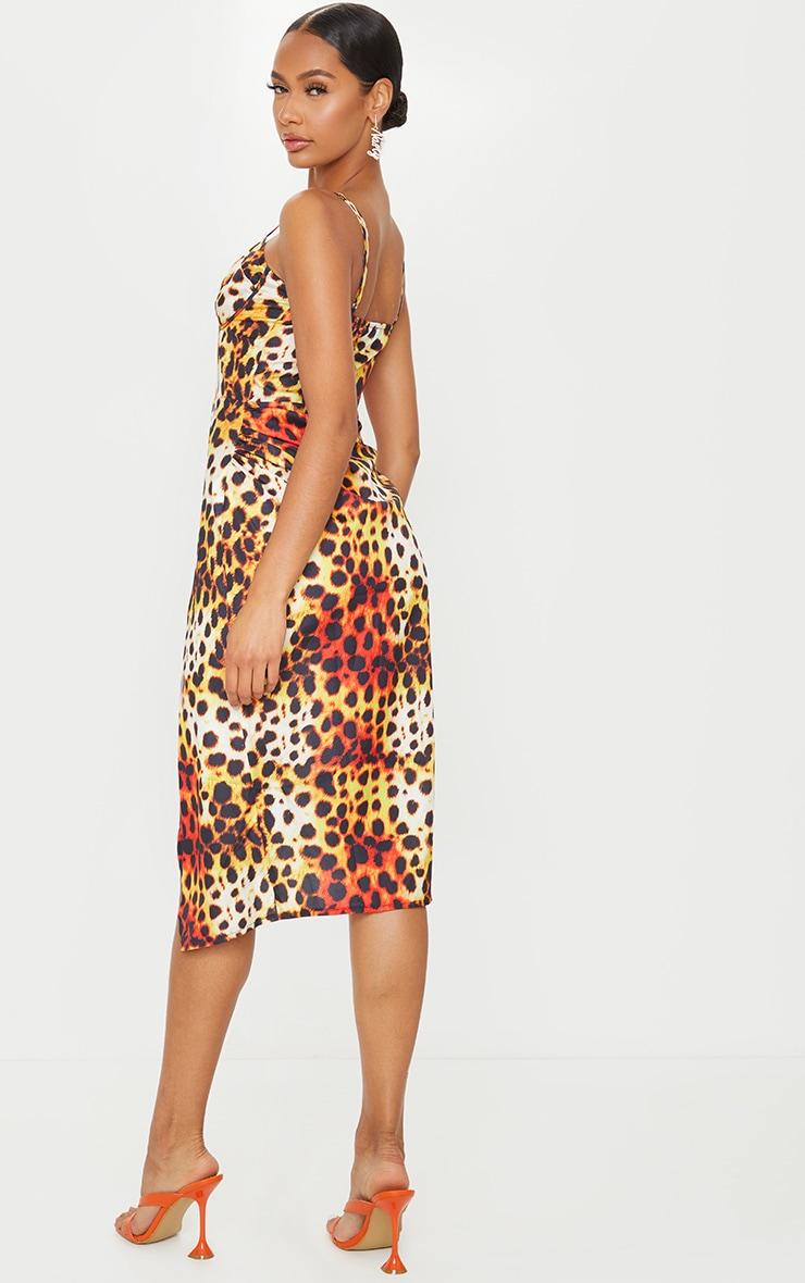 Multi Leopard Print Strappy Corset Detail Split Hem Midi Dress 2