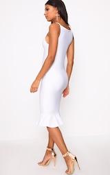 6e764b0a253 Freada White Square Neck Frill Hem Midi Dress image 2
