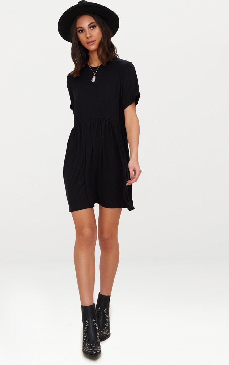 Black Jersey Oversized Smock Dress 4