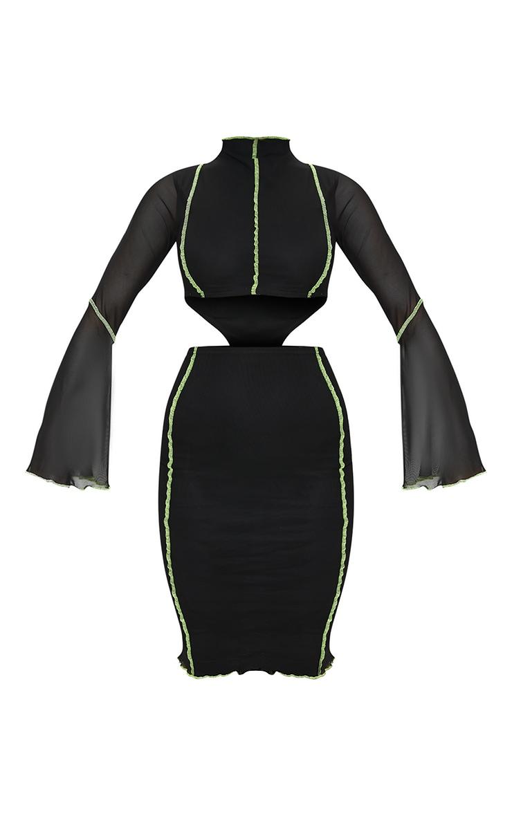 Black Mesh Stitch Detail Cut Out Flare Sleeve Midi Dress 5