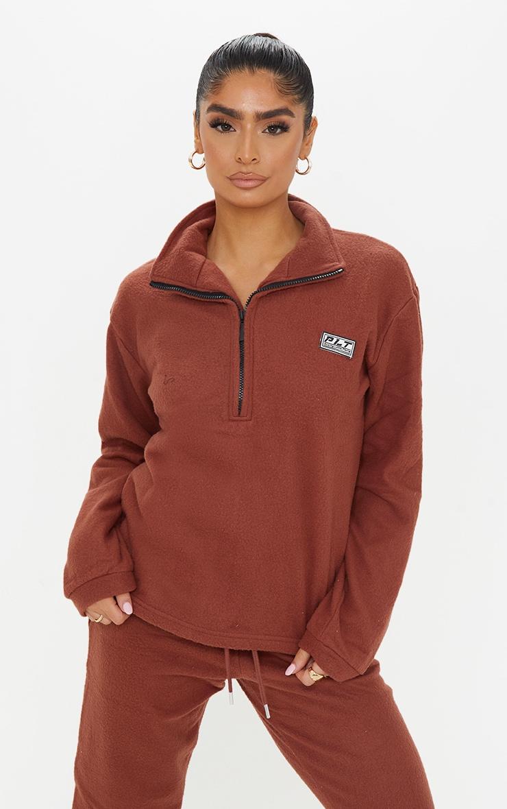 PRETTYLITTLETHING Chocolate Brown Soft Touch Badge Detail Funnel Neck Sweatshirt 1