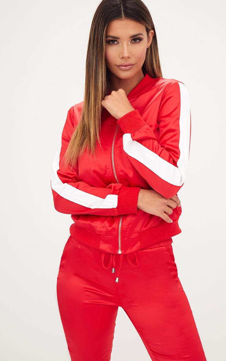 Red Sport Stripe Track Jacket  1