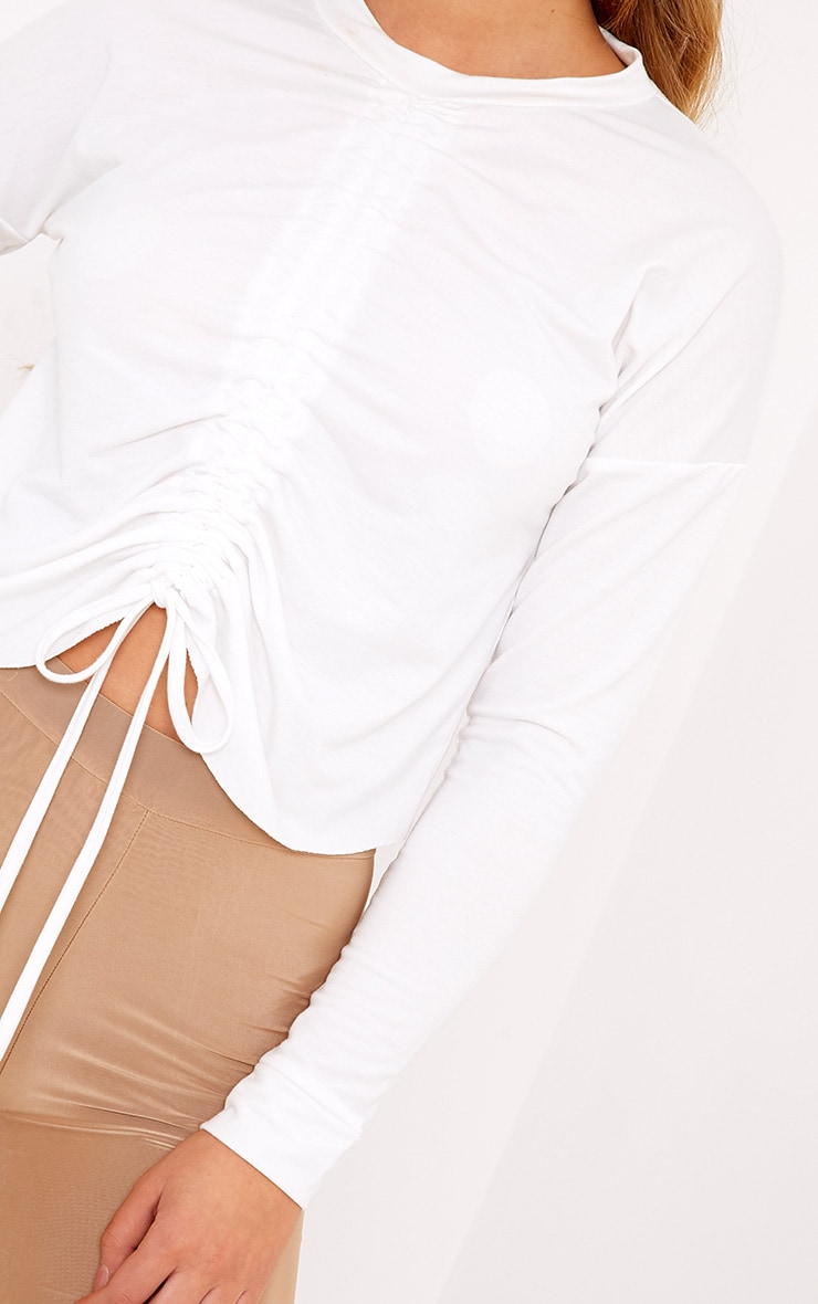 Ione White Ruched Crop Longsleeve Sweater 5