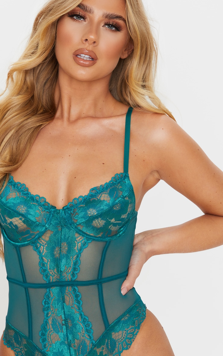 Emerald Green Underwired Cage Detail Lace Body 4