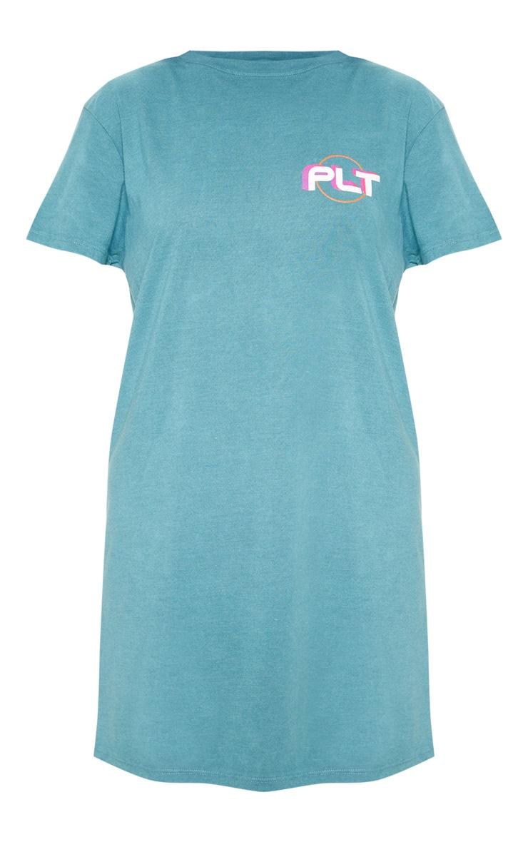 PRETTYLITTLETHING Teal Mountain Slogan Oversized T Shirt Dress 3