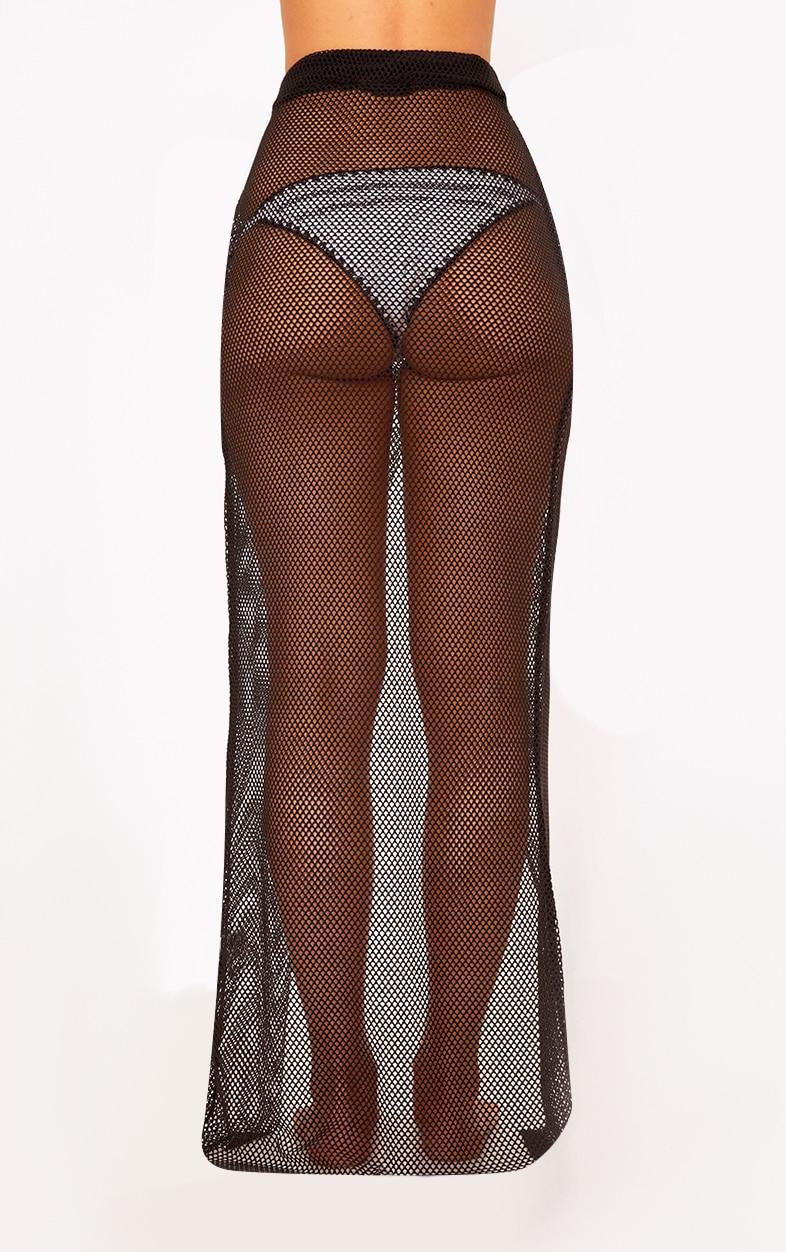 Black Fishnet Wrap Over Maxi Skirt  4
