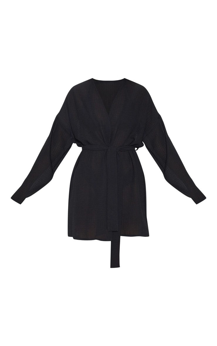Black Crinkle Textured Short Beach Kimono 3