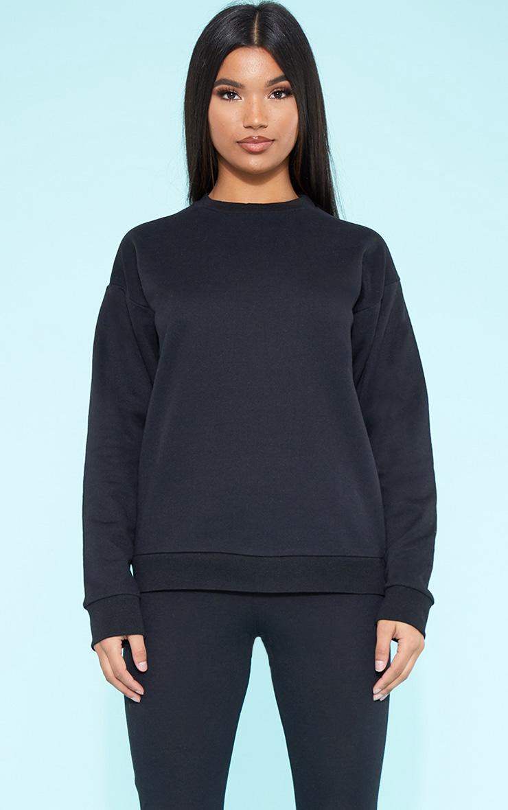 RECYCLED Black Crew Neck Sweater 1