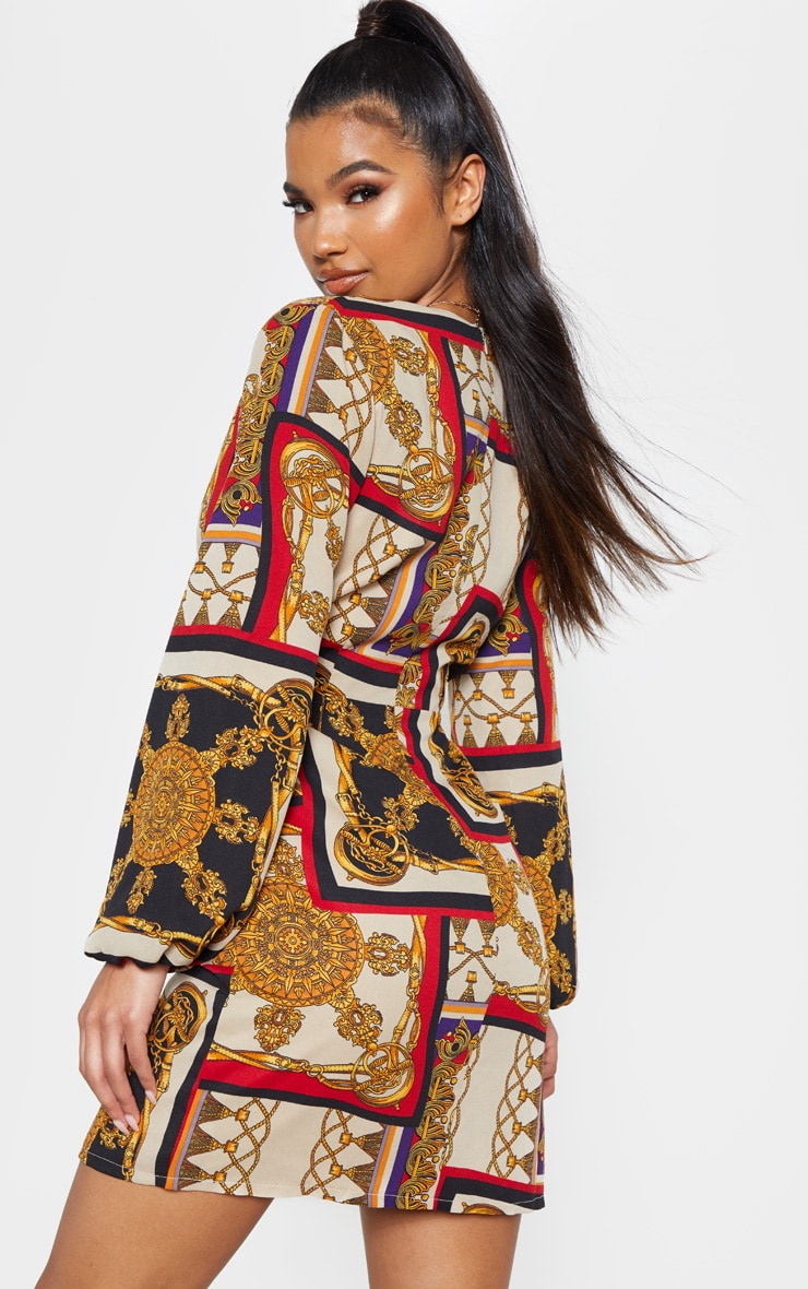 Multi Satin Chain Print Bodycon Dress 2