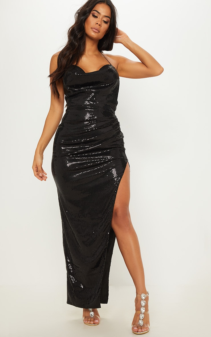 Black Sequin Cowl Neck Split Leg Maxi Dress 1