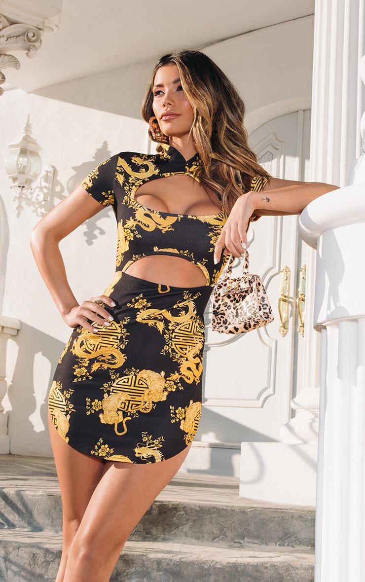 7fc260ab9cd2 Black Oriental Cut Out Bodycon Dress | PrettyLittleThing