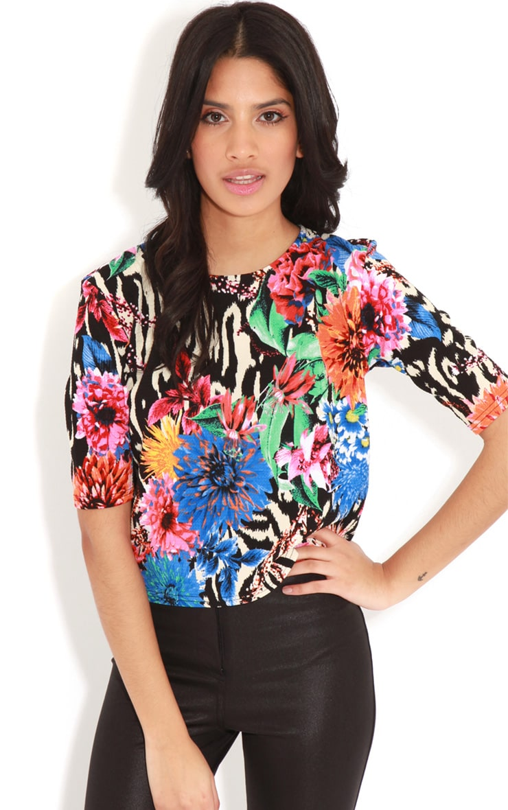 Kimberly Blue Floral Print Crop Top  1