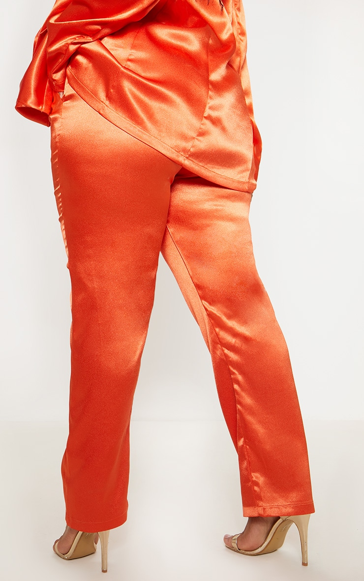 Plus Orange Satin Straight Leg Trouser 4