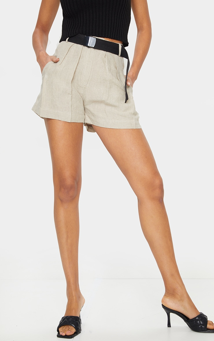Stone Linen Feel Belted Shorts 2