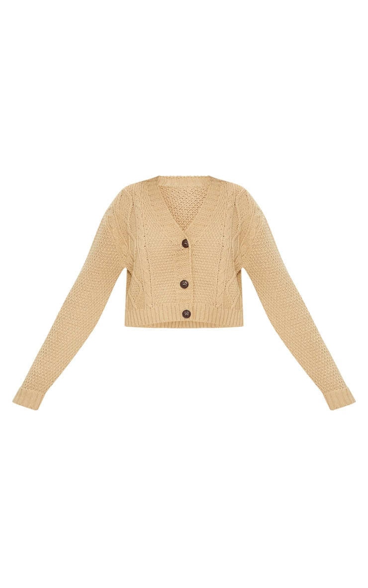 Camel Cable Cropped Cardigan 4