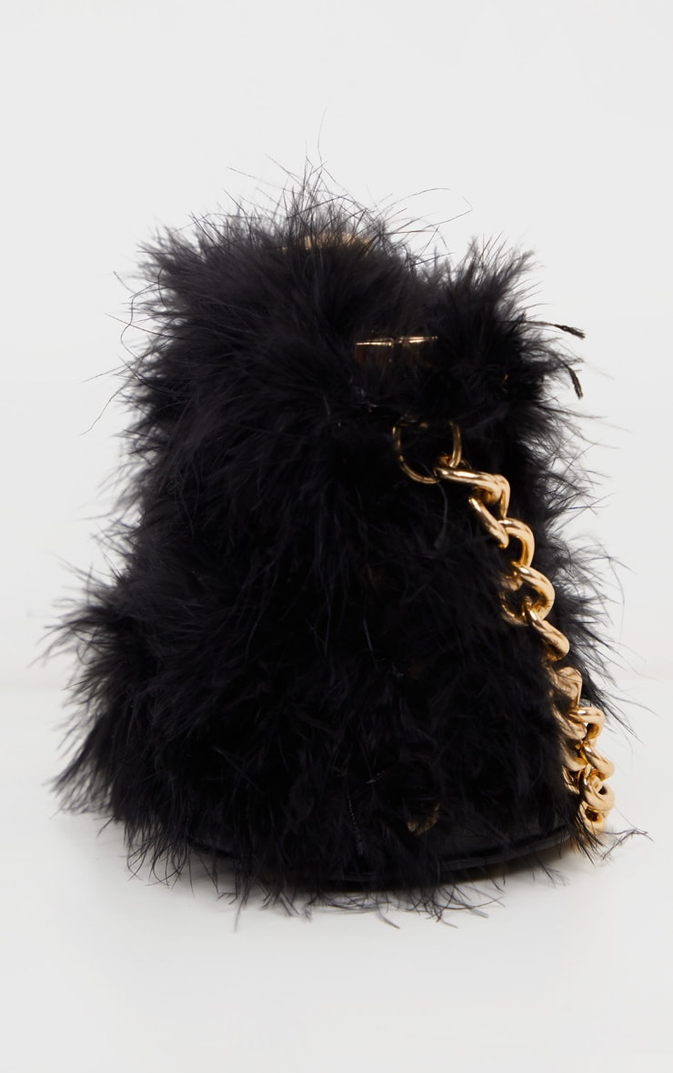 Black Marabou Large Clutch Bag 4