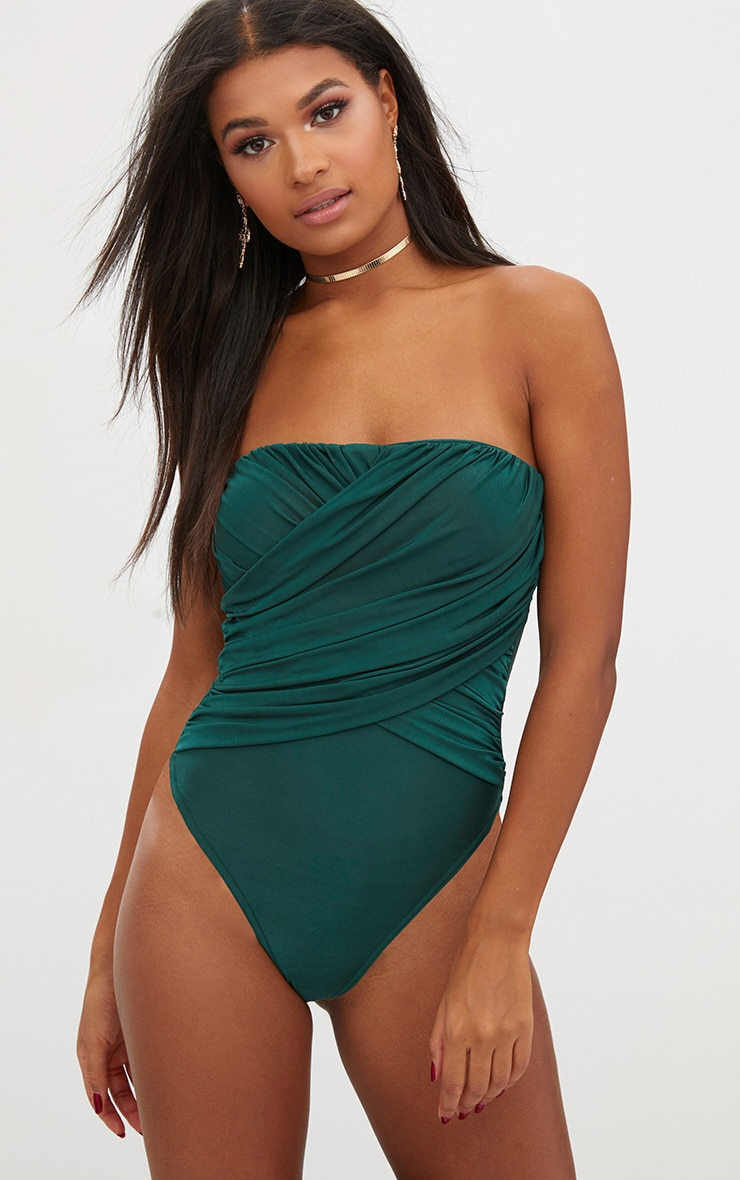 Bottle Green Slinky Draped Bandeau Thong Bodysuit 1
