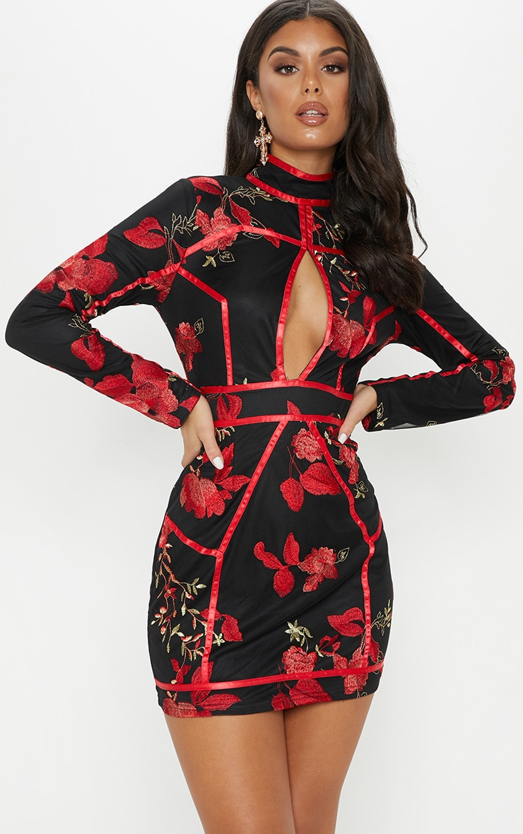 Black Floral Embroidered Oriental Bodycon Dress