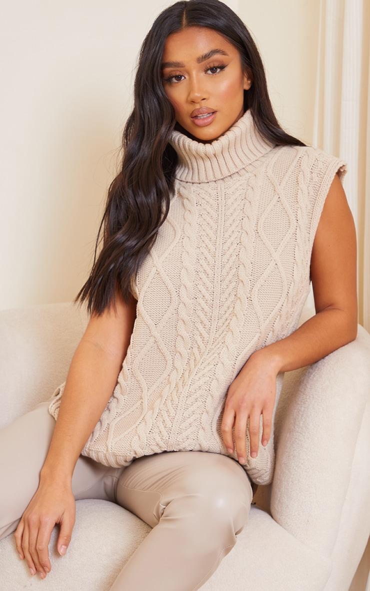 Petite Stone Longline Sleeveless Cable Roll Neck Sweater 1