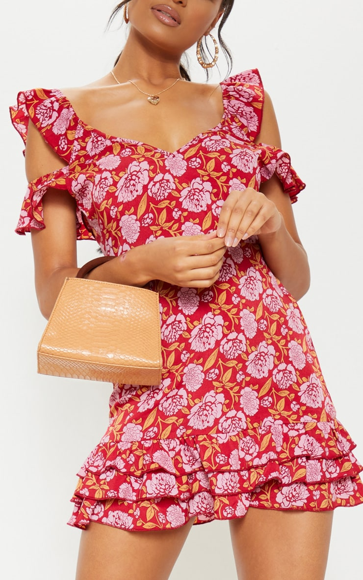 Red Floral Printed Tie Back Shift Dress 5