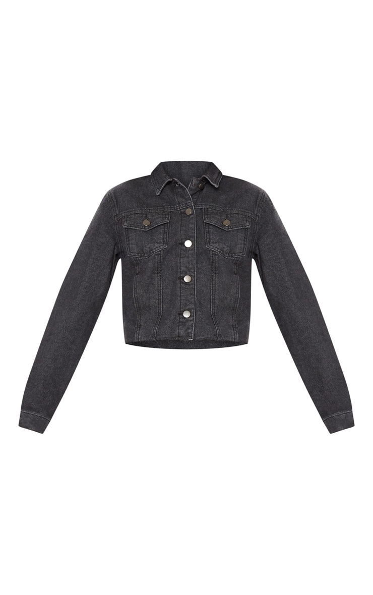 Washed Black Cropped Denim Jacket  3