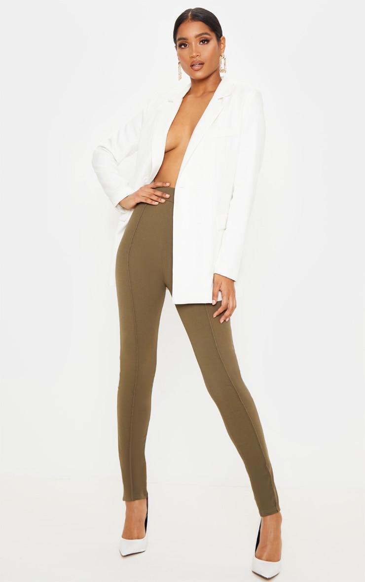 Khaki Stitch Detail Side Split Skinny Trouser 1