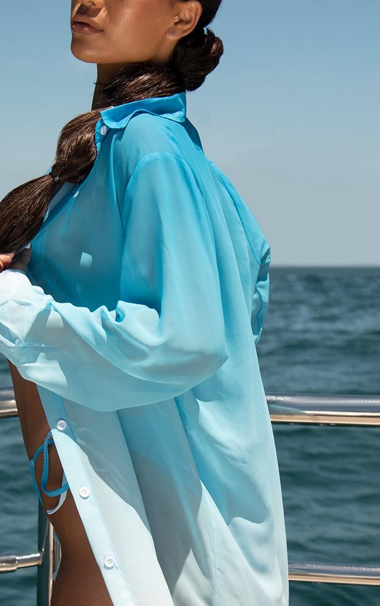 Blue Ombre Oversized Beach Shirt 4