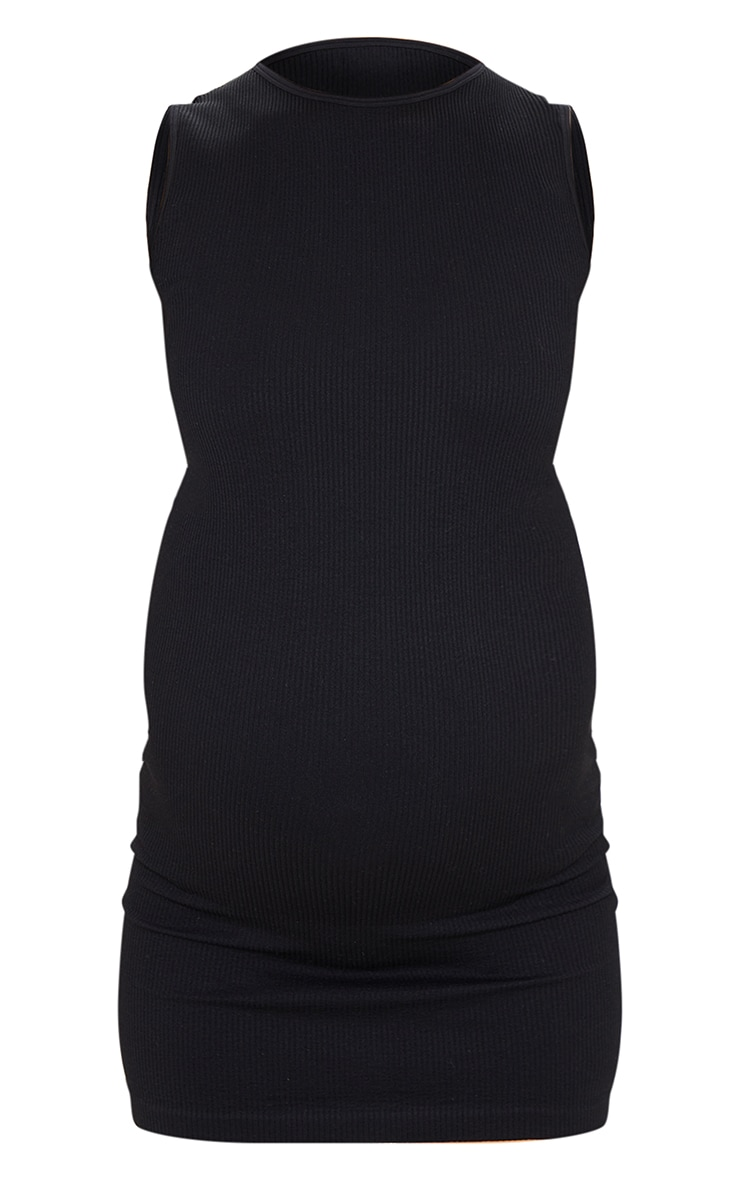 Maternity Black Contour Racer Neck Bodycon Dress 5