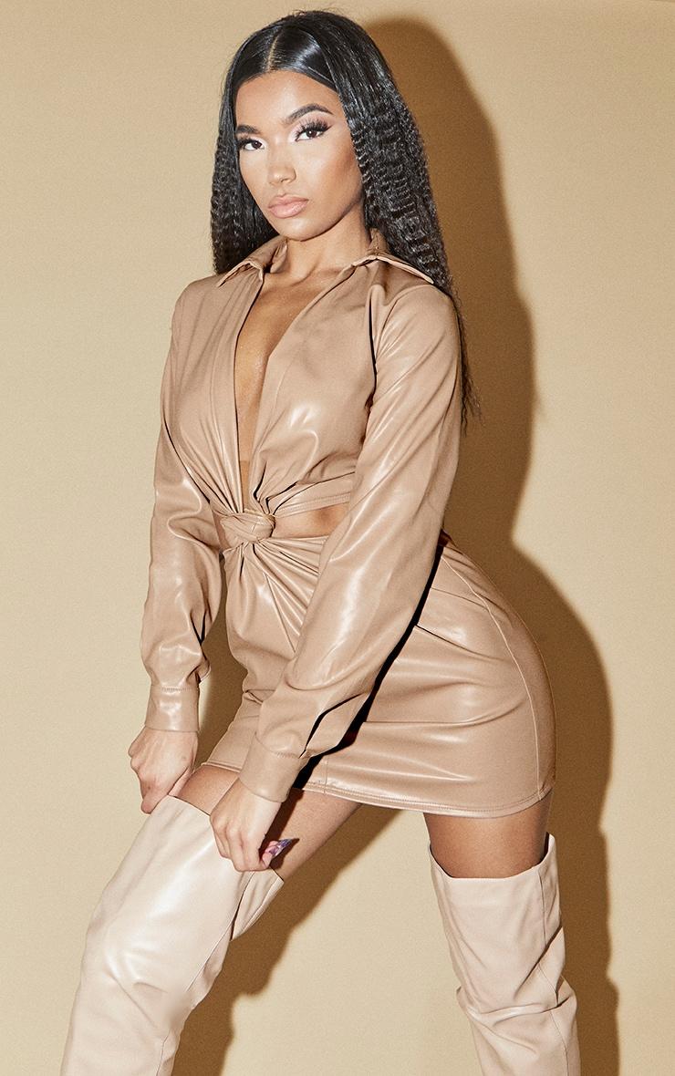 Nude Pu Long Sleeve Twist Detail Cut Out Dress