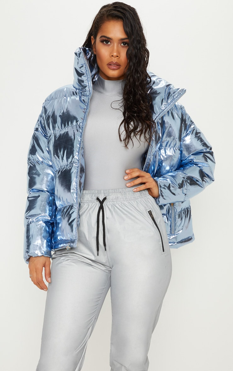 Blue Metallic Puffer  1