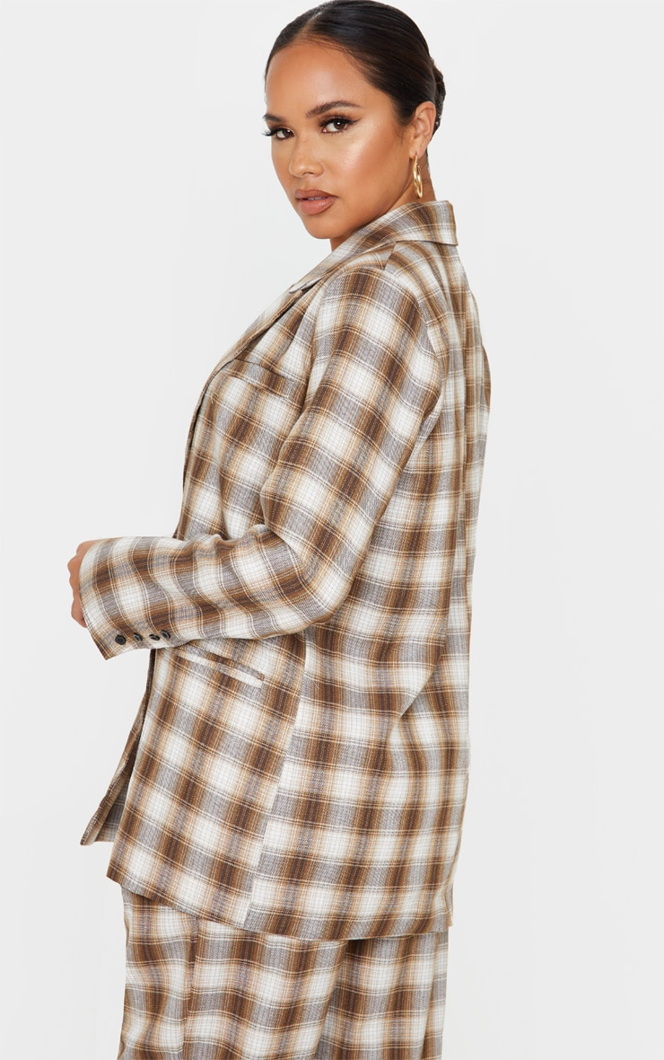 Brown Check Oversized Dad Woven Blazer 2