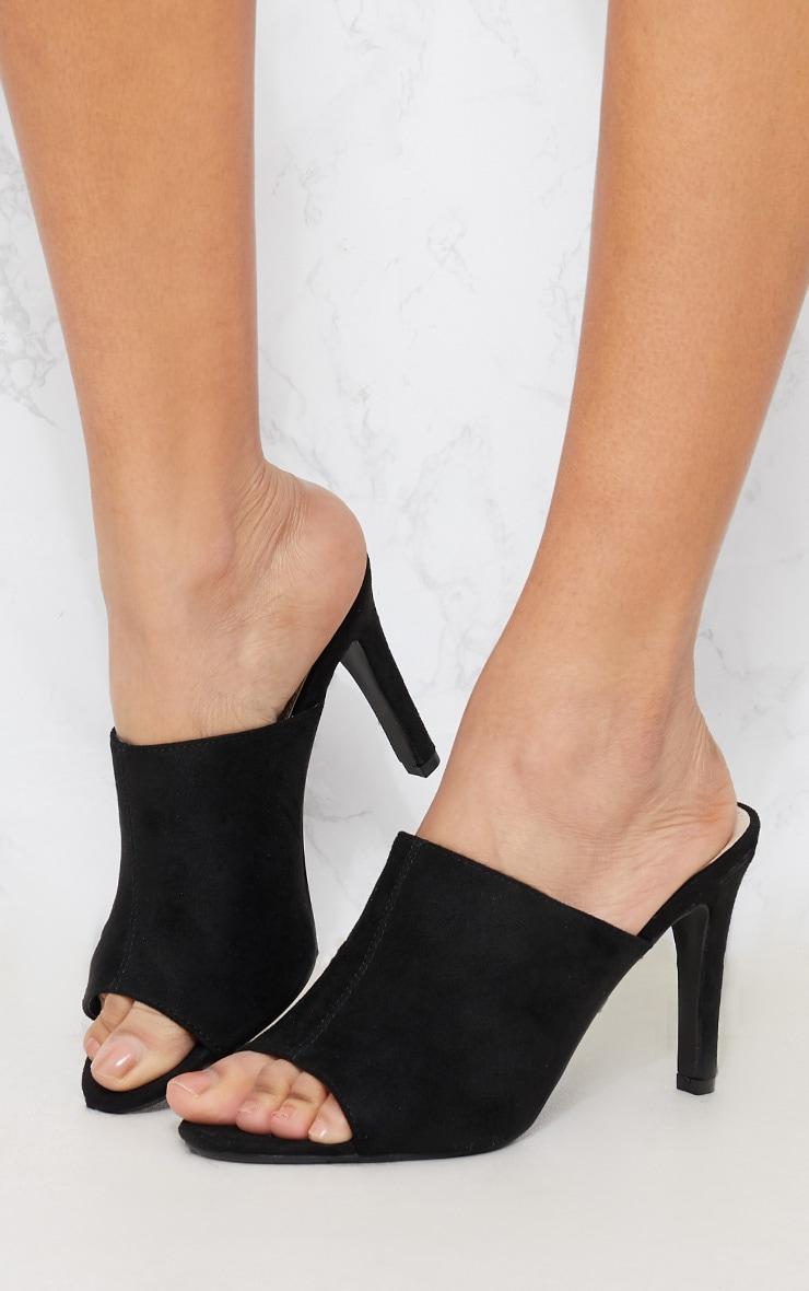 Black Faux Suede Heeled Mule Sandal 2