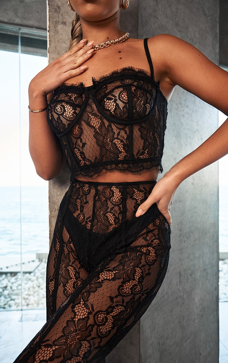 Black Sheer Lace Strappy Corset Top 2