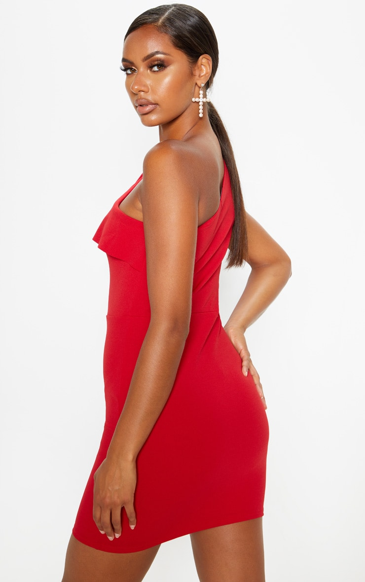 Scarlet One Shoulder Frill Detail Bodycon Dress 2
