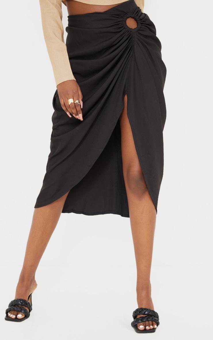 Black Woven O Ring Cut Out Drape Midi Skirt 2