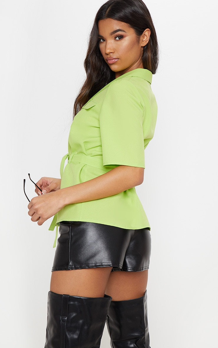 Neon Lime Short Sleeve Utility Shirt 2