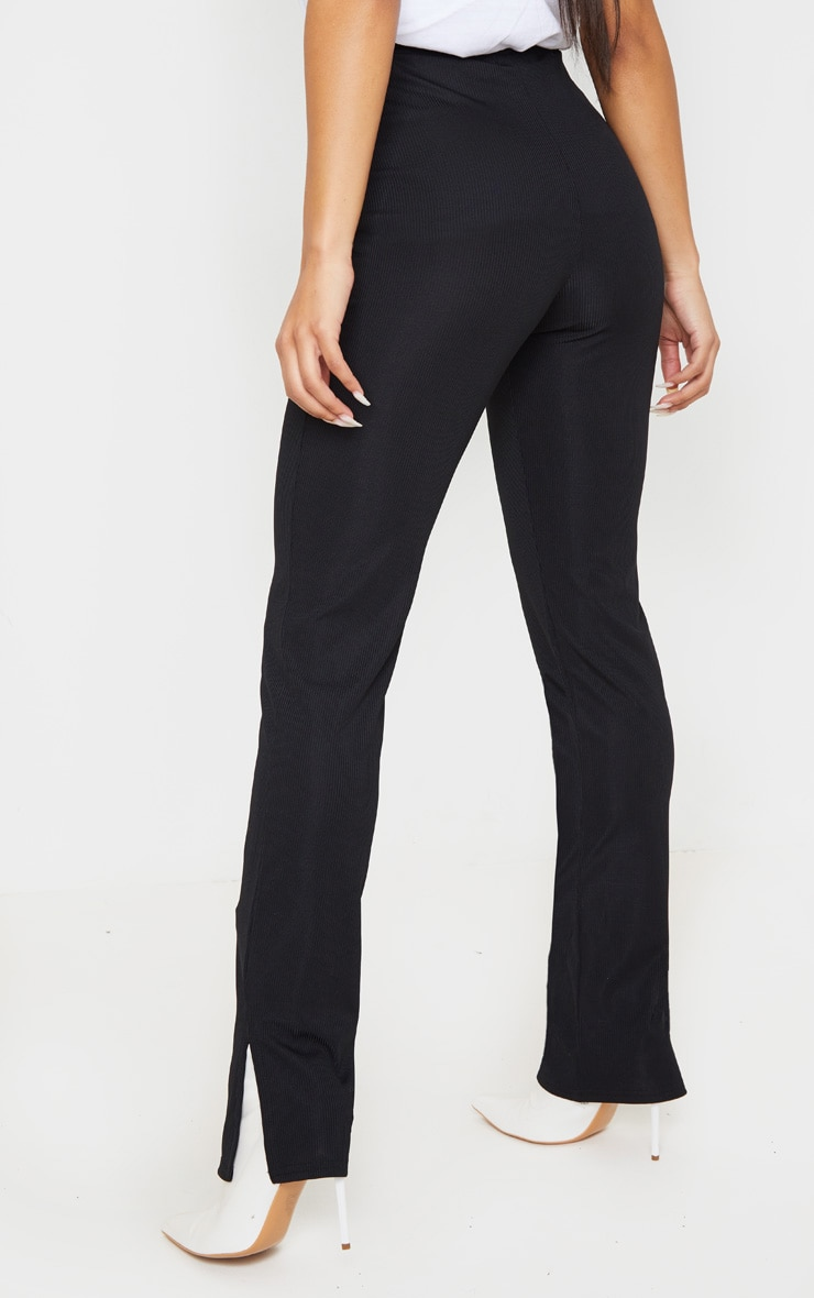 Black Ribbed Skinny Split Hem Trouser 4
